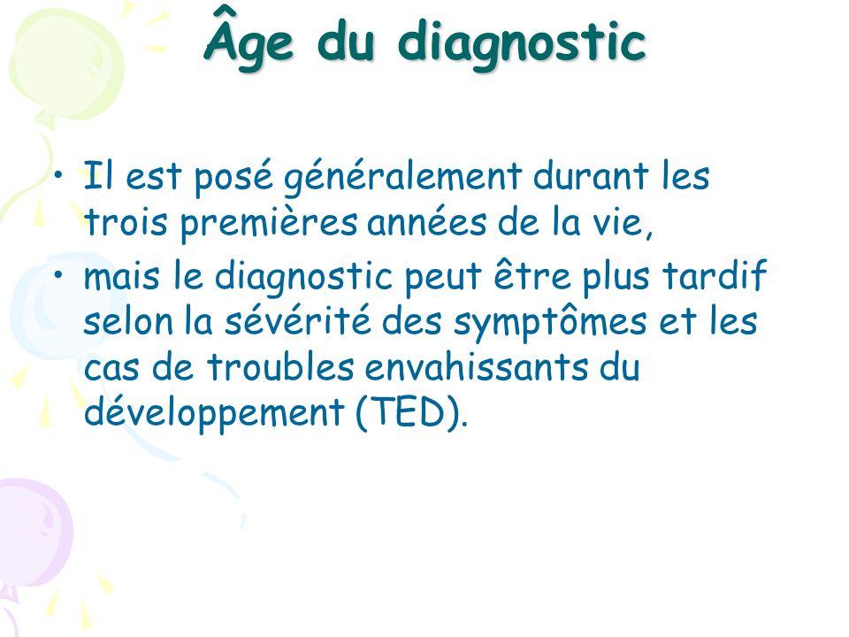 Âge du diagnostic Il est posé généralement durant les trois premières années de la vie,