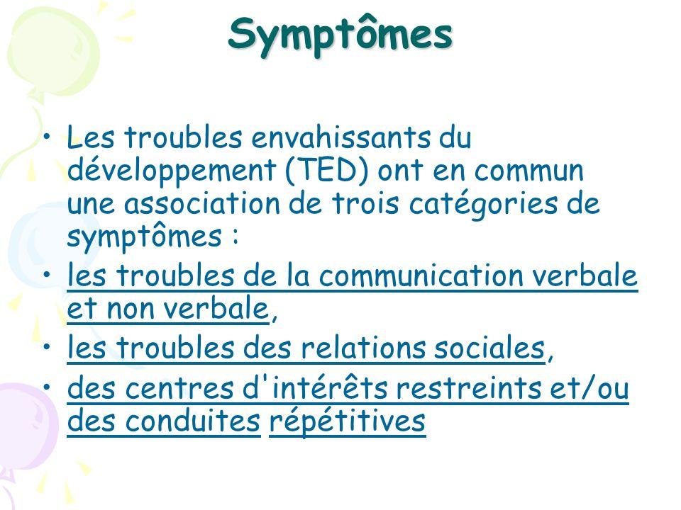 Symptômes Les troubles envahissants du développement (TED) ont en commun une association de trois catégories de symptômes :