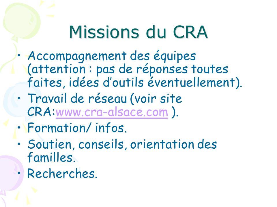 Missions du CRAAccompagnement des équipes (attention : pas de réponses toutes faites, idées d'outils éventuellement).
