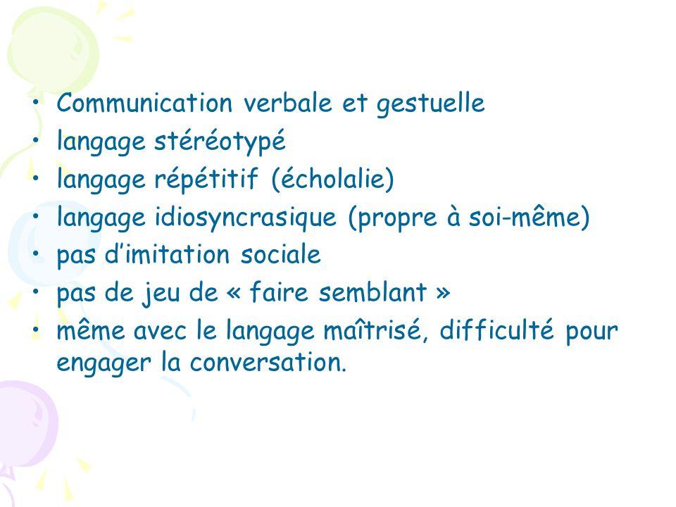 Communication verbale et gestuelle langage stéréotypé