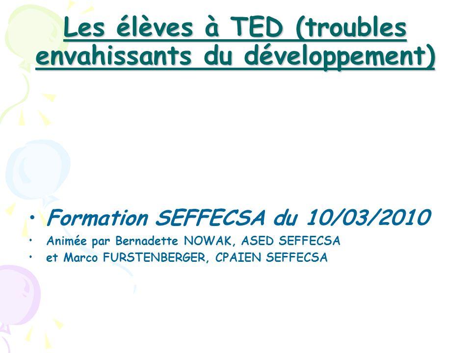 Les élèves à TED (troubles envahissants du développement)