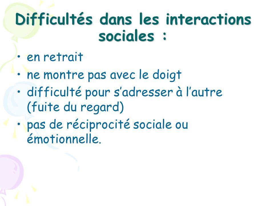 Difficultés dans les interactions sociales :