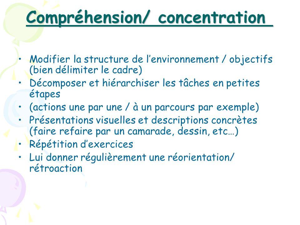 Compréhension/ concentration