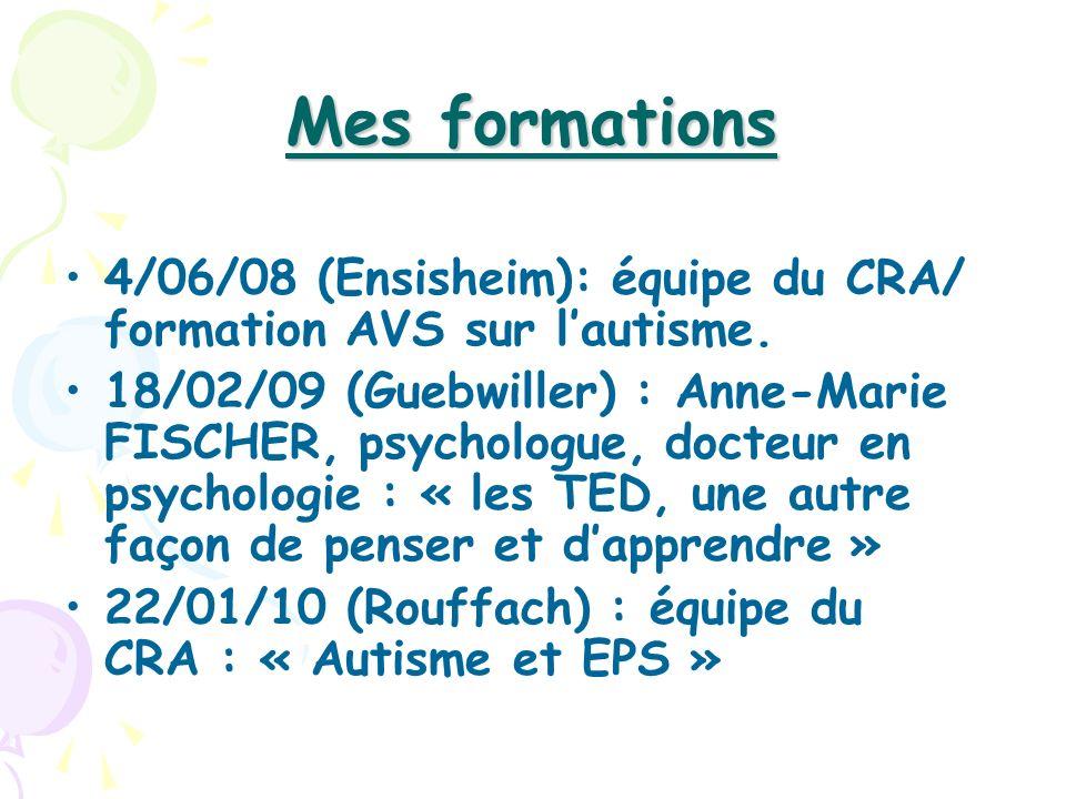 Mes formations 4/06/08 (Ensisheim): équipe du CRA/ formation AVS sur l'autisme.