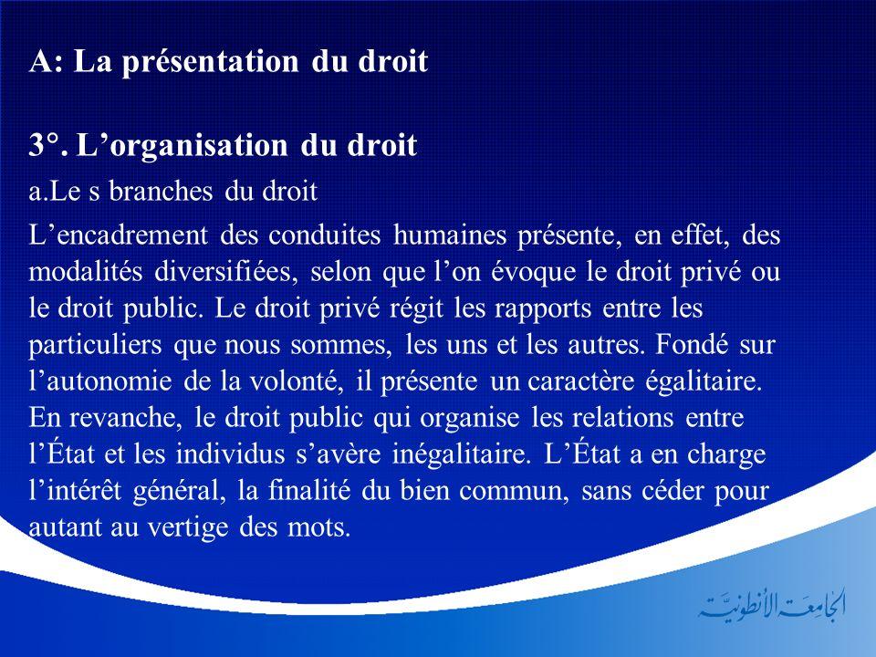 A: La présentation du droit 3. L'organisation du droit