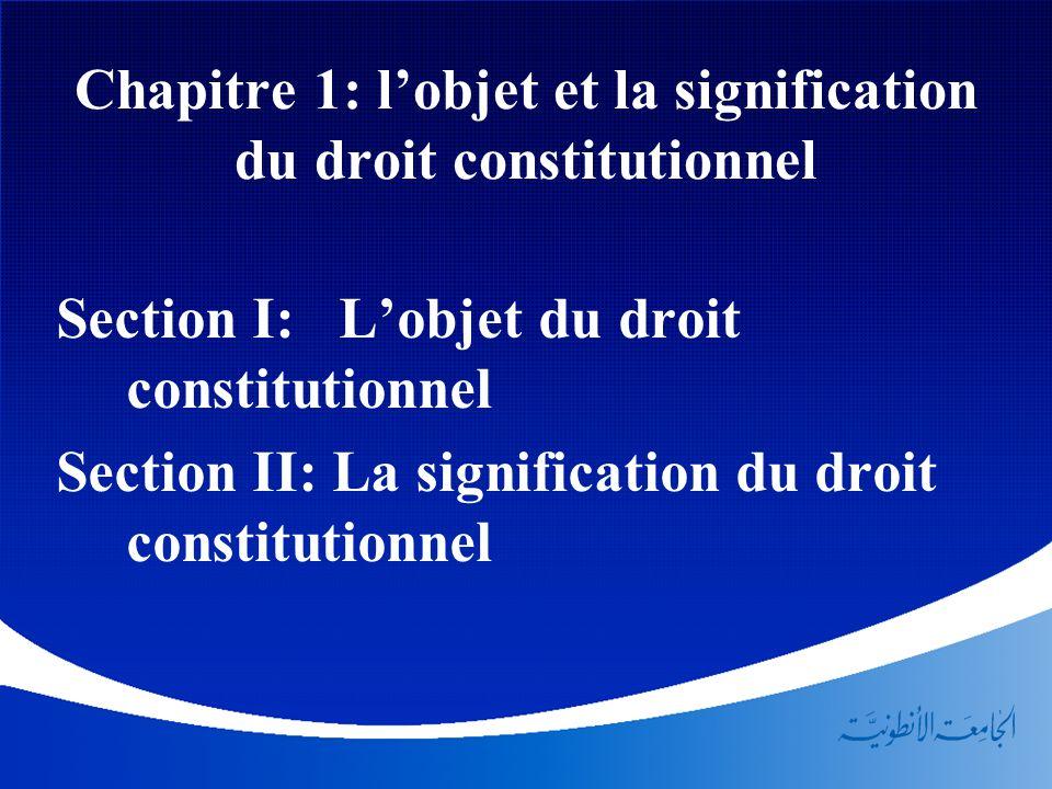 Chapitre 1: l'objet et la signification du droit constitutionnel