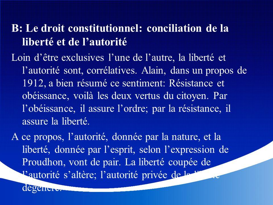 B: Le droit constitutionnel: conciliation de la liberté et de l'autorité
