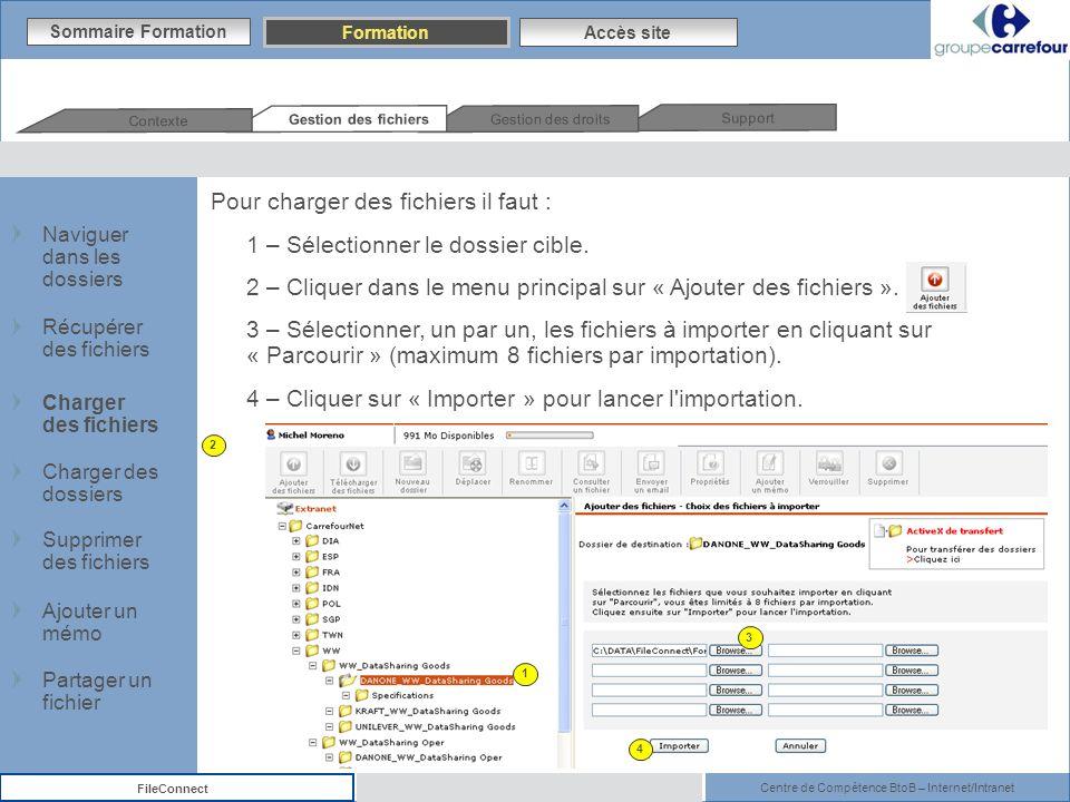 Pour charger des fichiers il faut : 1 – Sélectionner le dossier cible.