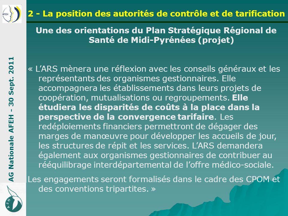 2 - La position des autorités de contrôle et de tarification