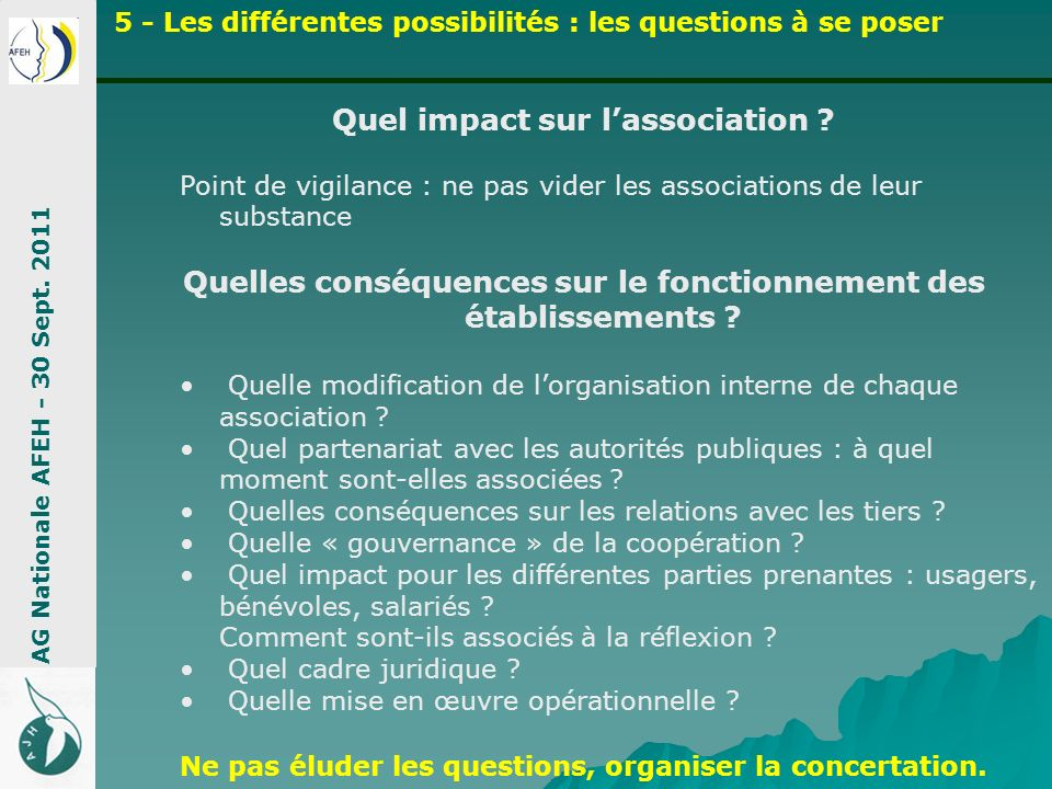 Quel impact sur l'association