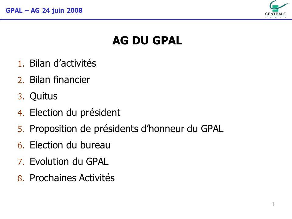 AG DU GPAL Bilan d'activités Bilan financier Quitus