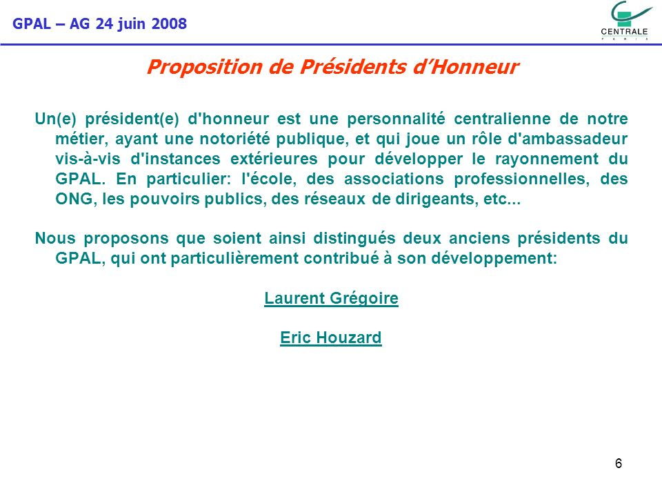 Proposition de Présidents d'Honneur