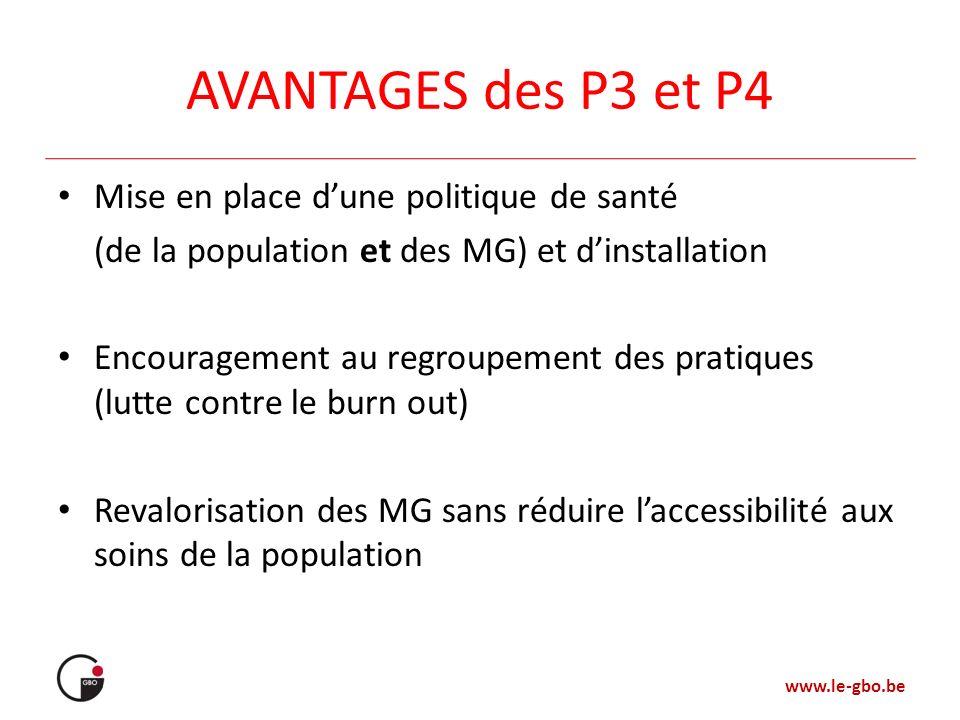 AVANTAGES des P3 et P4 Mise en place d'une politique de santé
