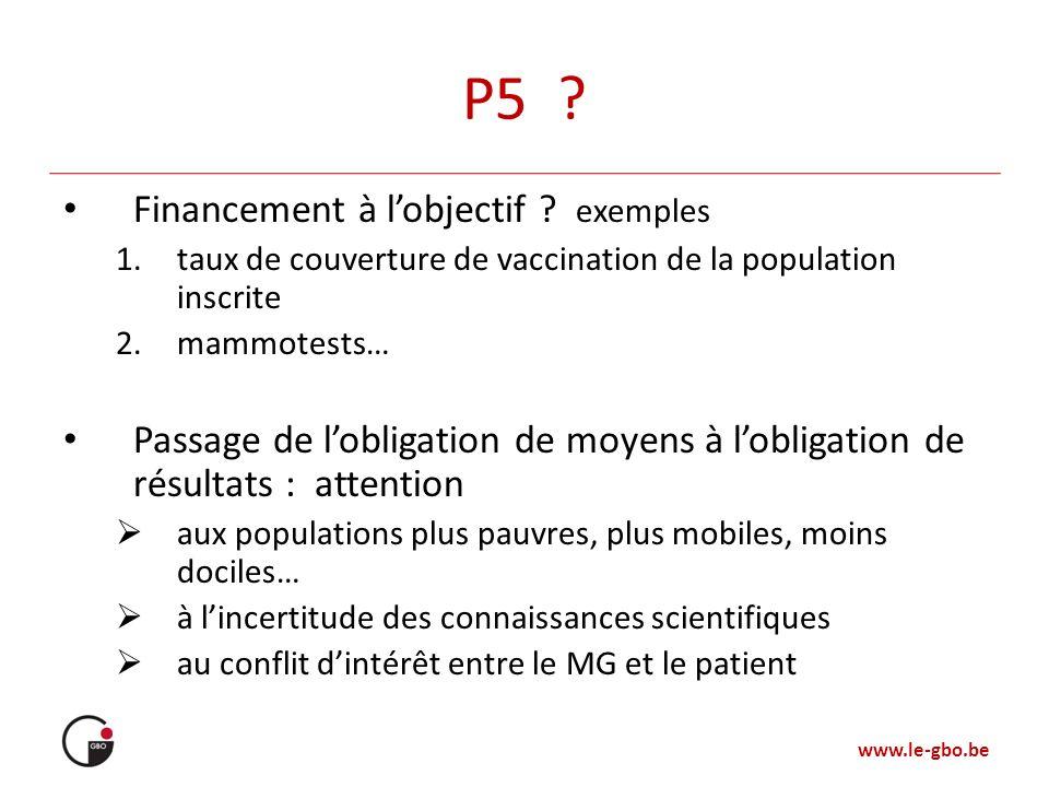 P5 Financement à l'objectif exemples