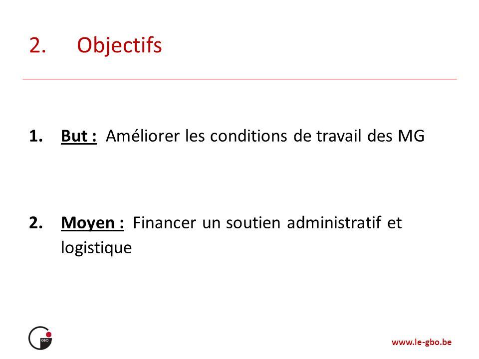 2. Objectifs But : Améliorer les conditions de travail des MG