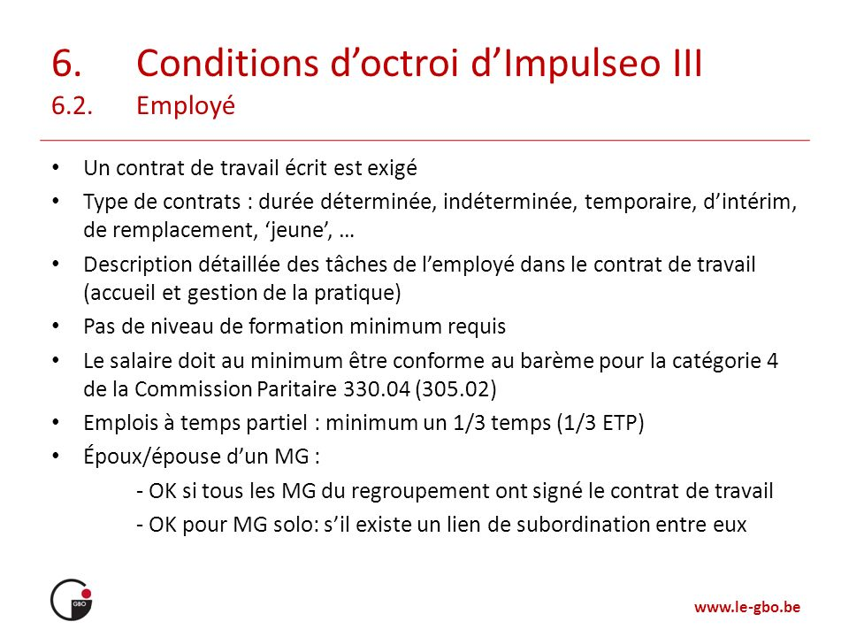 6. Conditions d'octroi d'Impulseo III 6.2. Employé