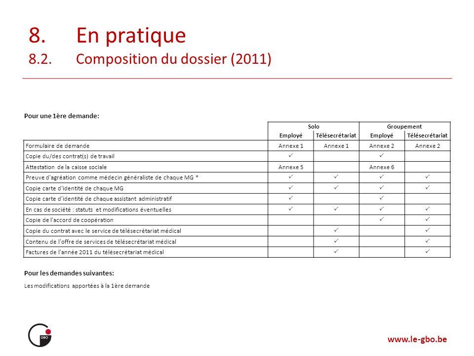 8. En pratique 8.2. Composition du dossier (2011)