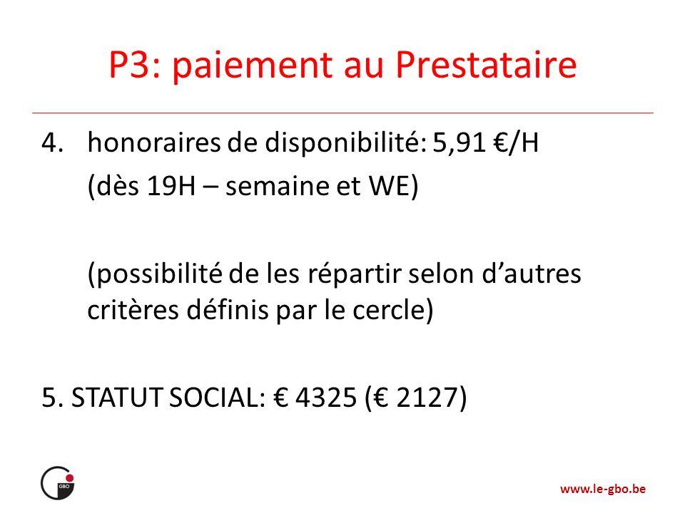 P3: paiement au Prestataire