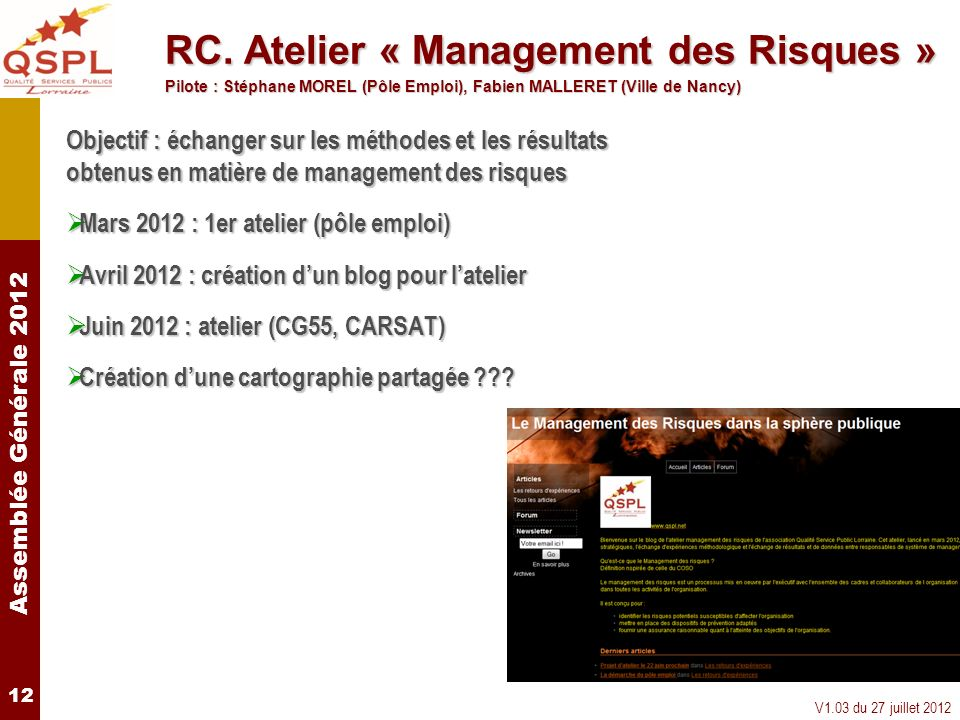 RC. Atelier « Management des Risques »