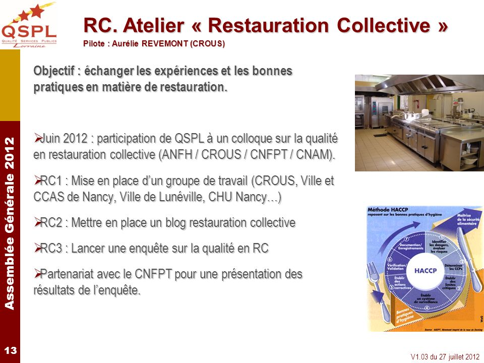 RC. Atelier « Restauration Collective »