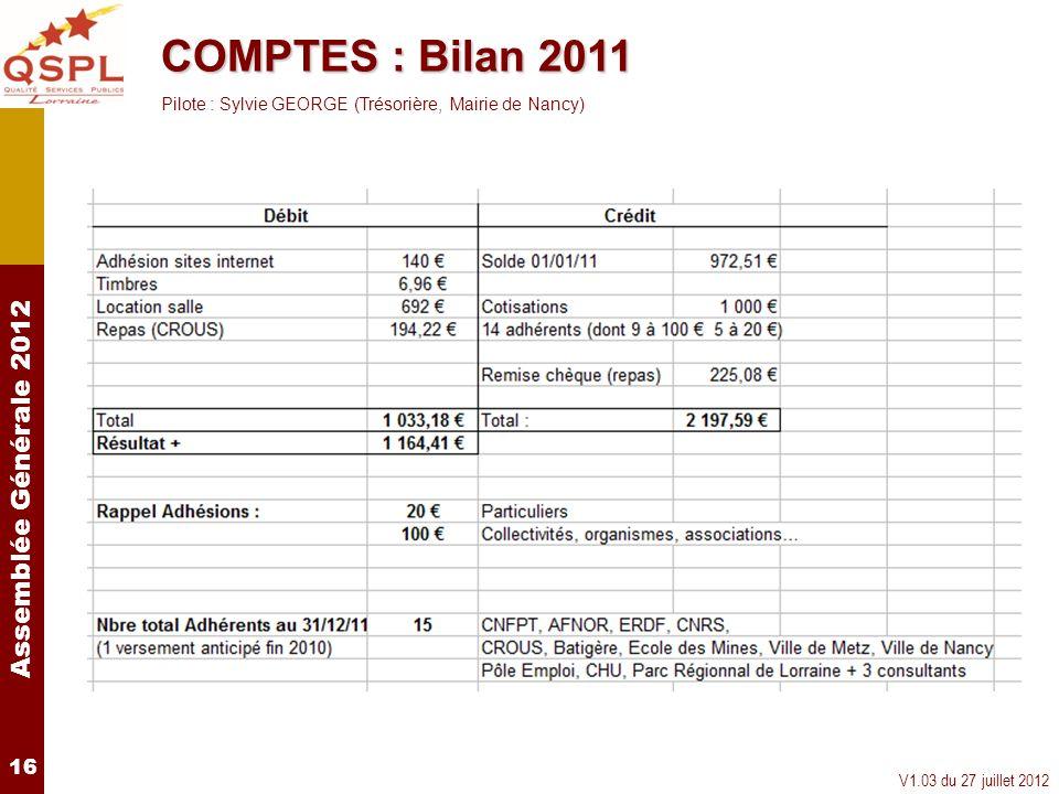 COMPTES : Bilan 2011Pilote : Sylvie GEORGE (Trésorière, Mairie de Nancy) 16.