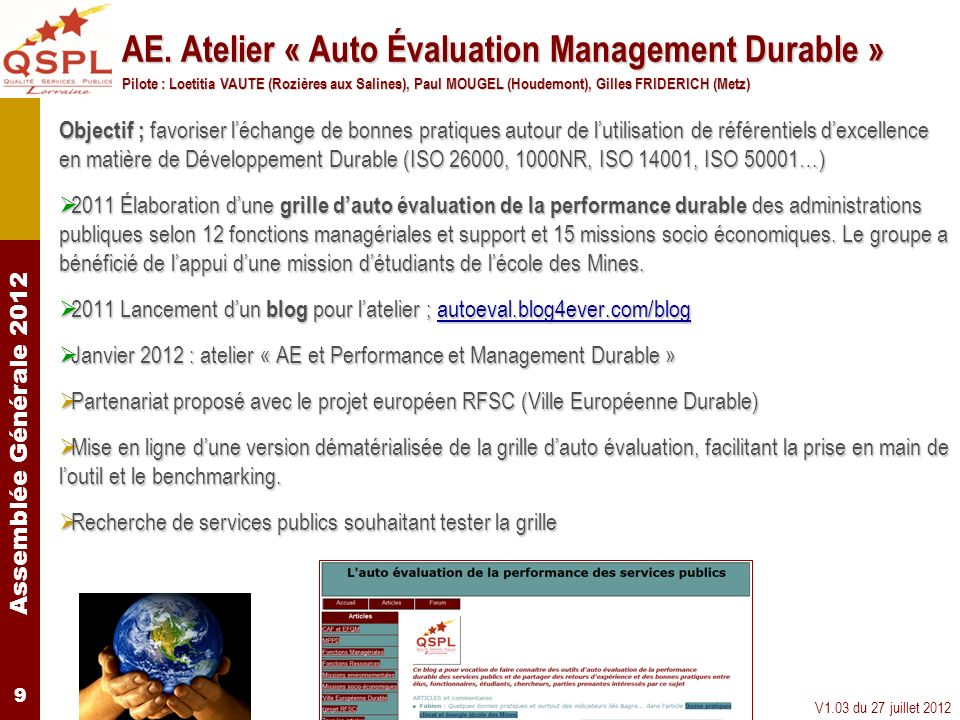 AE. Atelier « Auto Évaluation Management Durable »