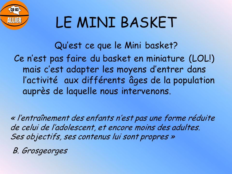 Qu'est ce que le Mini basket