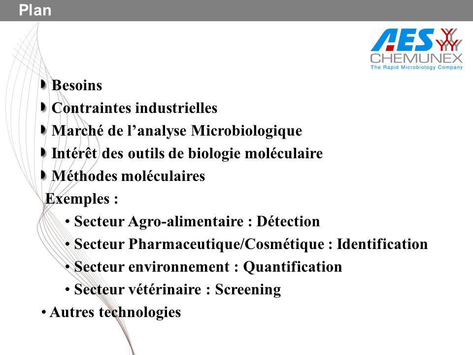 Plan Besoins. Contraintes industrielles. Marché de l'analyse Microbiologique. Intérêt des outils de biologie moléculaire.