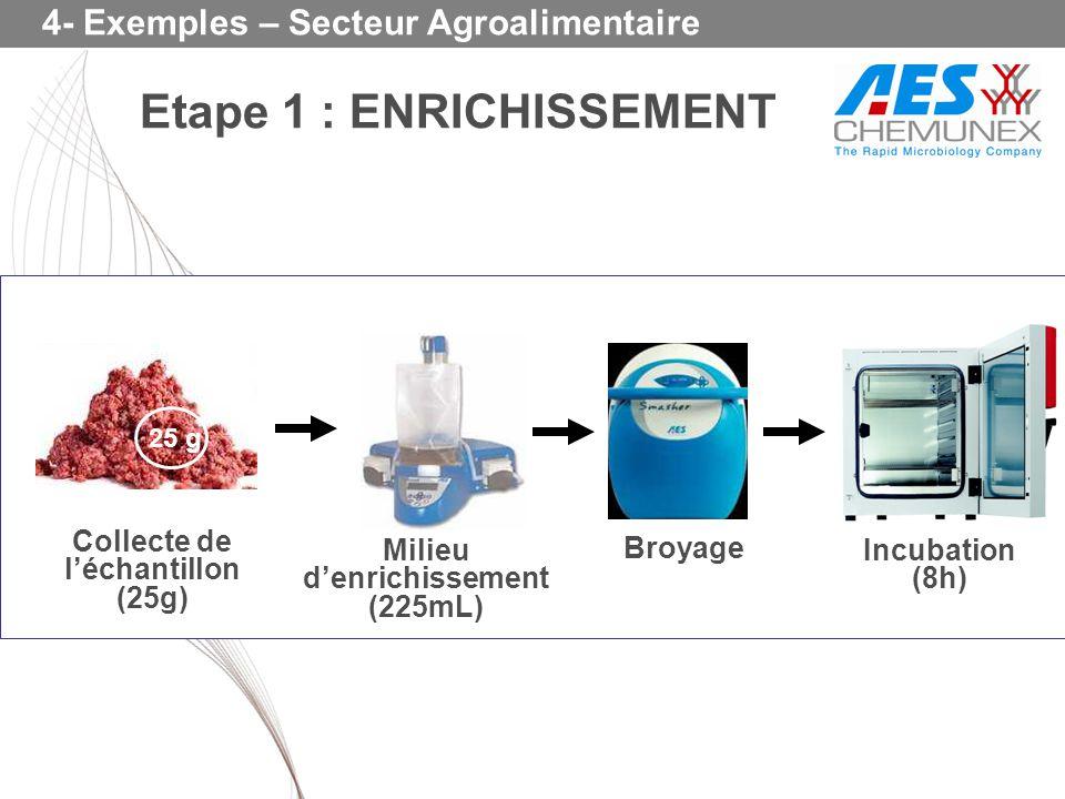 Collecte de l'échantillon (25g) Milieu d'enrichissement (225mL)