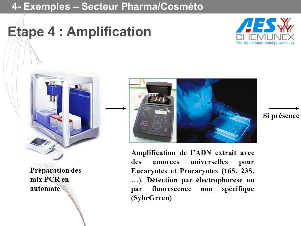 Etape 4 : Amplification 4- Exemples – Secteur Pharma/Cosméto