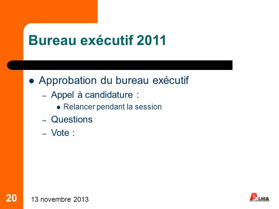 Bureau exécutif 2011 Approbation du bureau exécutif 20