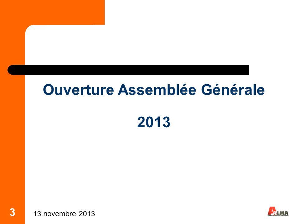 Ouverture Assemblée Générale 2013