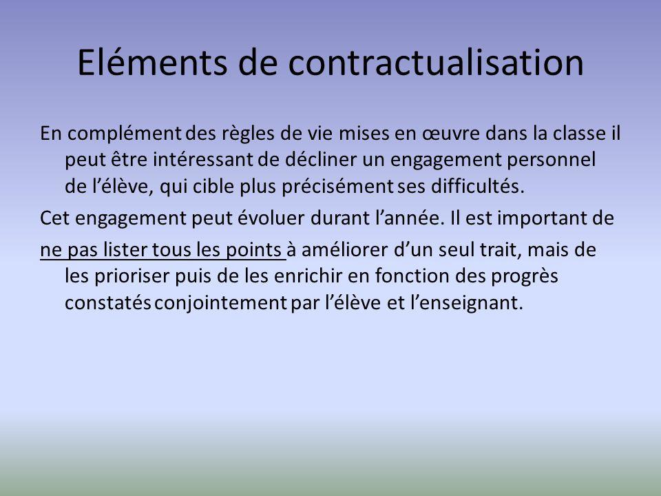 Eléments de contractualisation