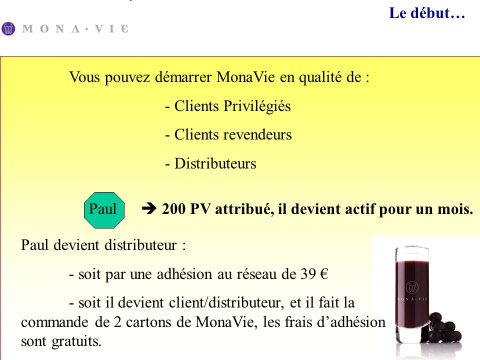 Le début… Vous pouvez démarrer MonaVie en qualité de : - Clients Privilégiés. - Clients revendeurs.