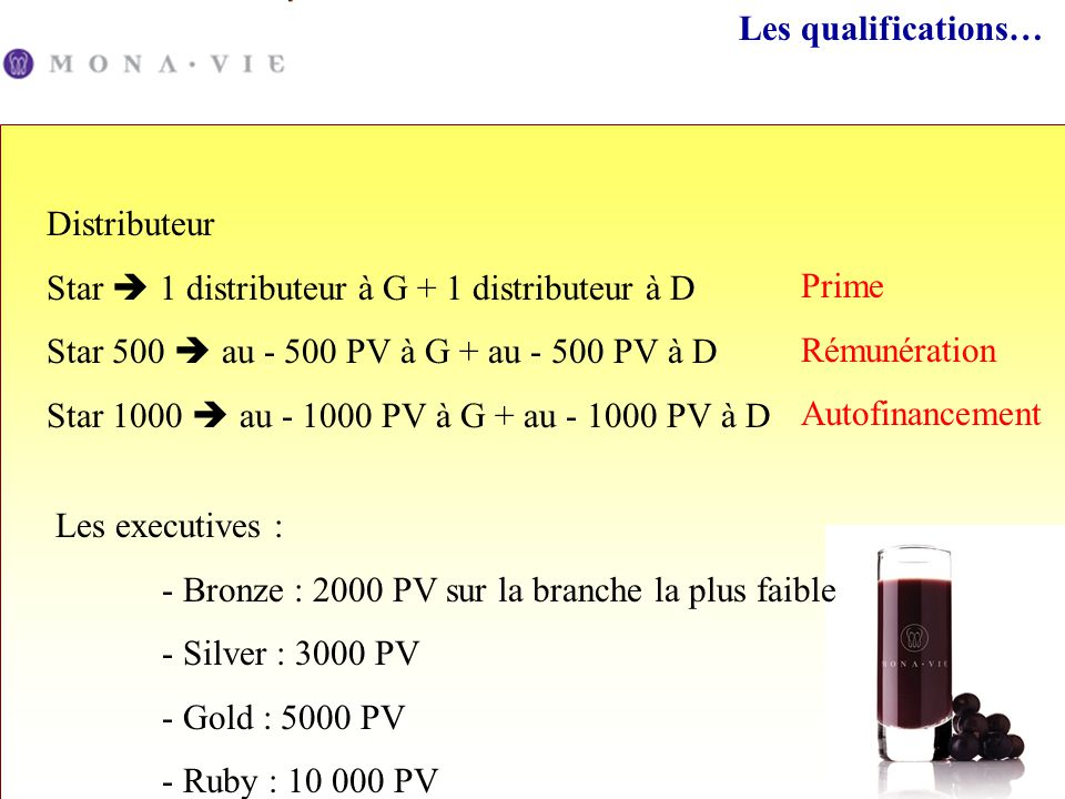 Les qualifications… Distributeur. Star  1 distributeur à G + 1 distributeur à D. Star 500  au - 500 PV à G + au - 500 PV à D.