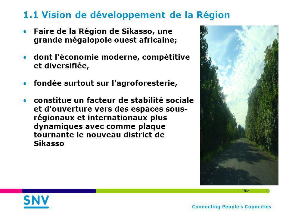 1.1 Vision de développement de la Région