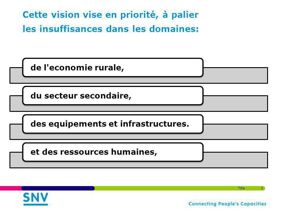 Cette vision vise en priorité, à palier les insuffisances dans les domaines: