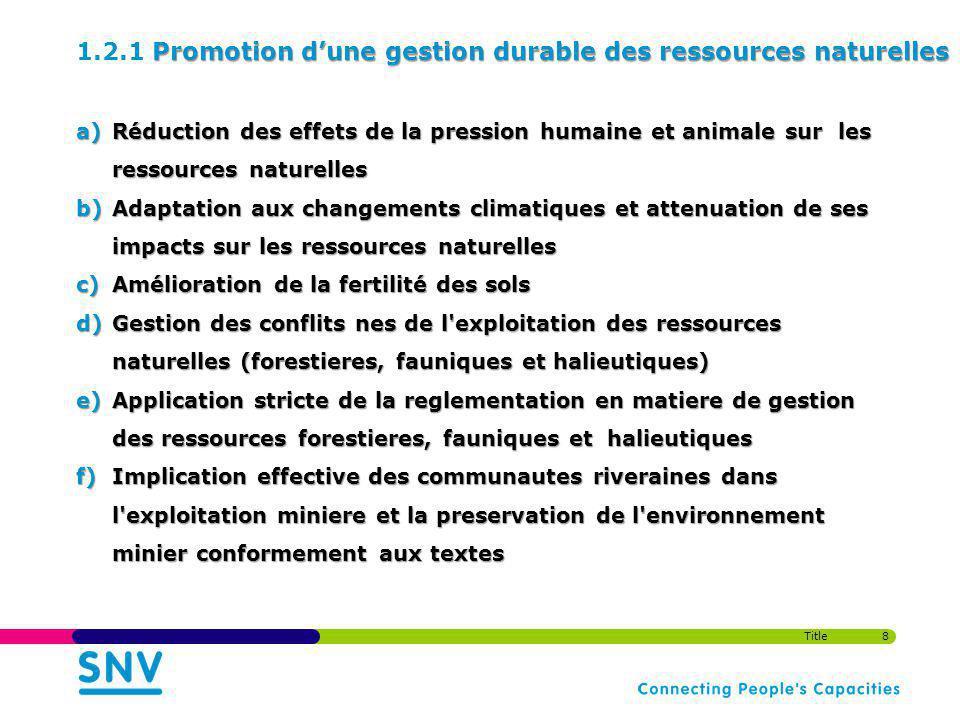 1.2.1 Promotion d'une gestion durable des ressources naturelles