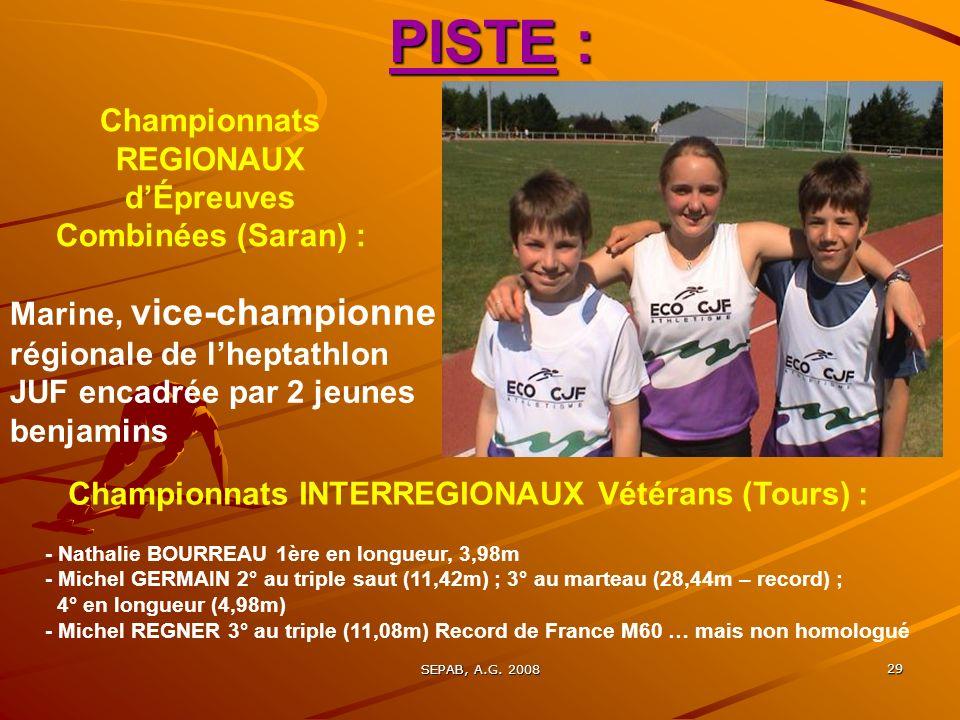 PISTE : Championnats REGIONAUX d'Épreuves Combinées (Saran) :