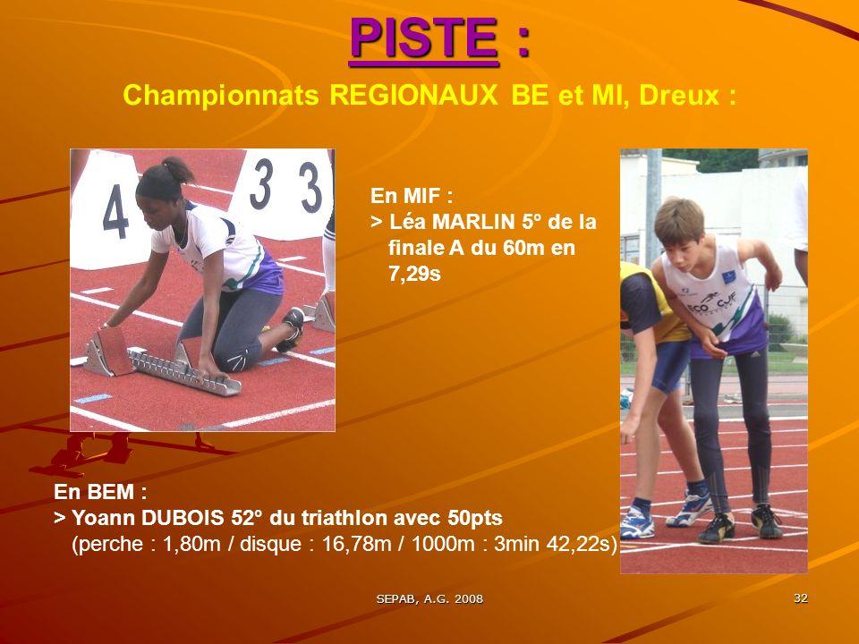 Championnats REGIONAUX BE et MI, Dreux :