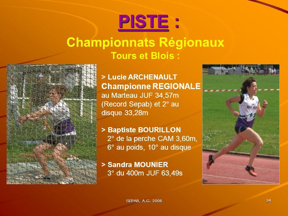 Championnats Régionaux Tours et Blois :