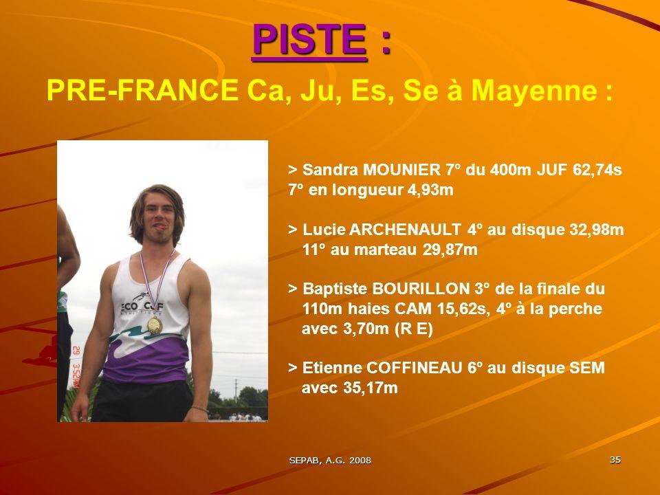 PRE-FRANCE Ca, Ju, Es, Se à Mayenne :