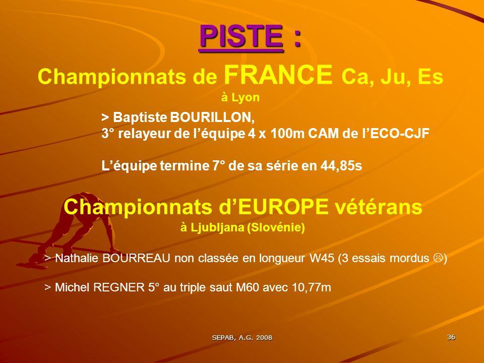 PISTE : Championnats de FRANCE Ca, Ju, Es à Lyon
