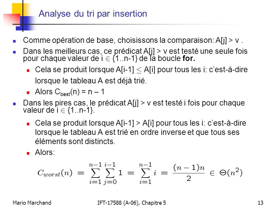 Analyse du tri par insertion