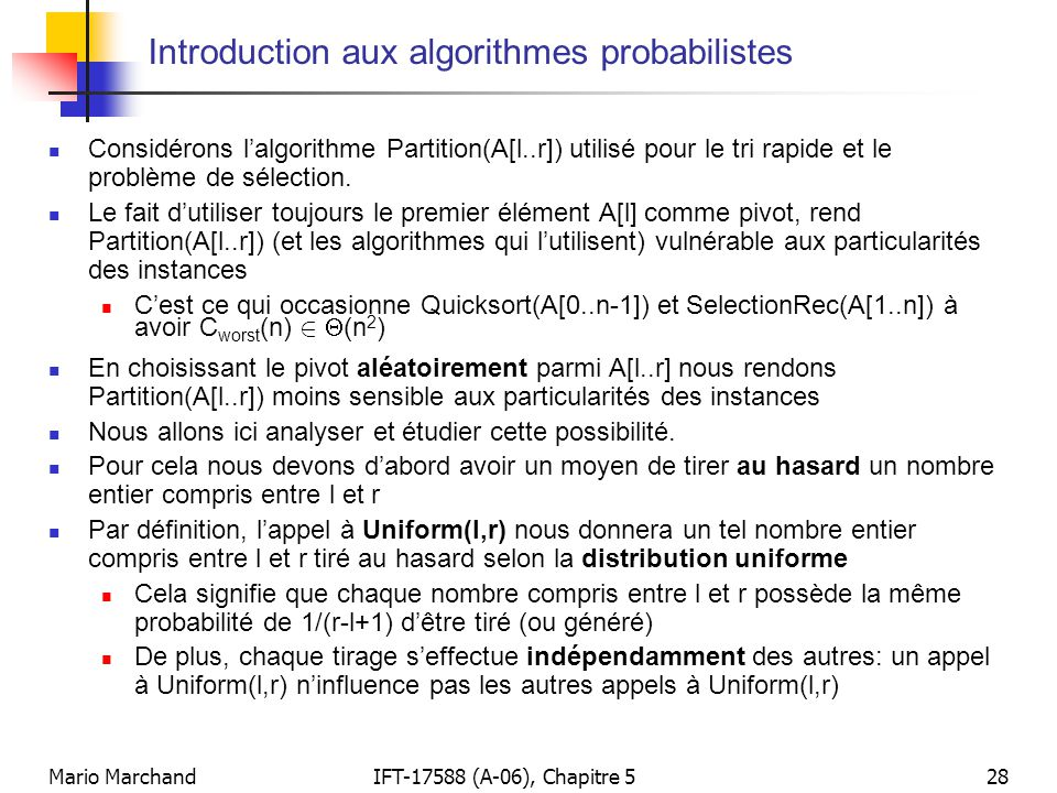 Introduction aux algorithmes probabilistes