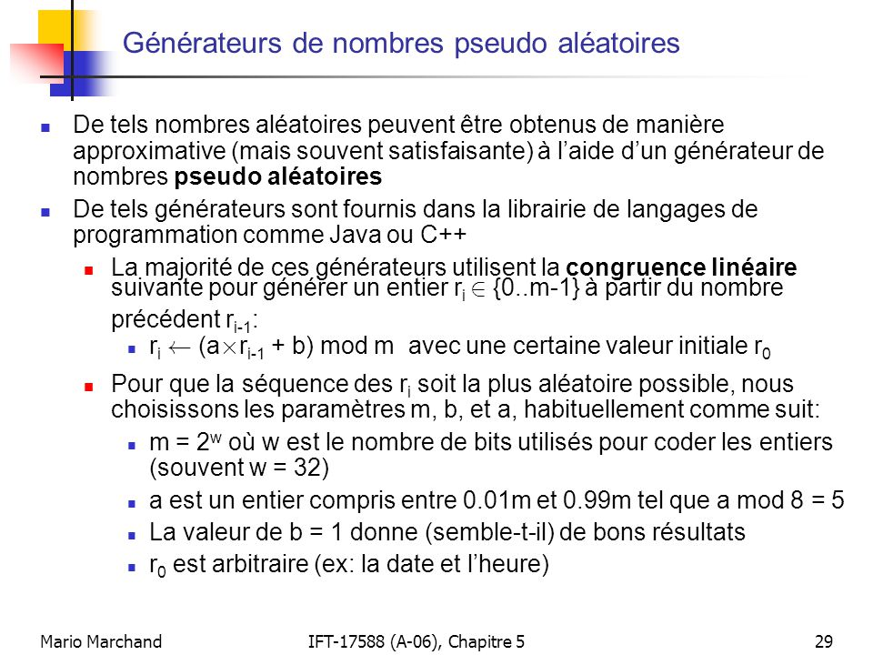 Générateurs de nombres pseudo aléatoires