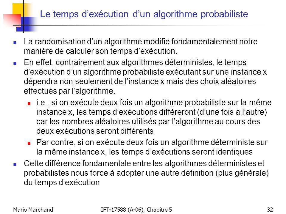 Le temps d'exécution d'un algorithme probabiliste