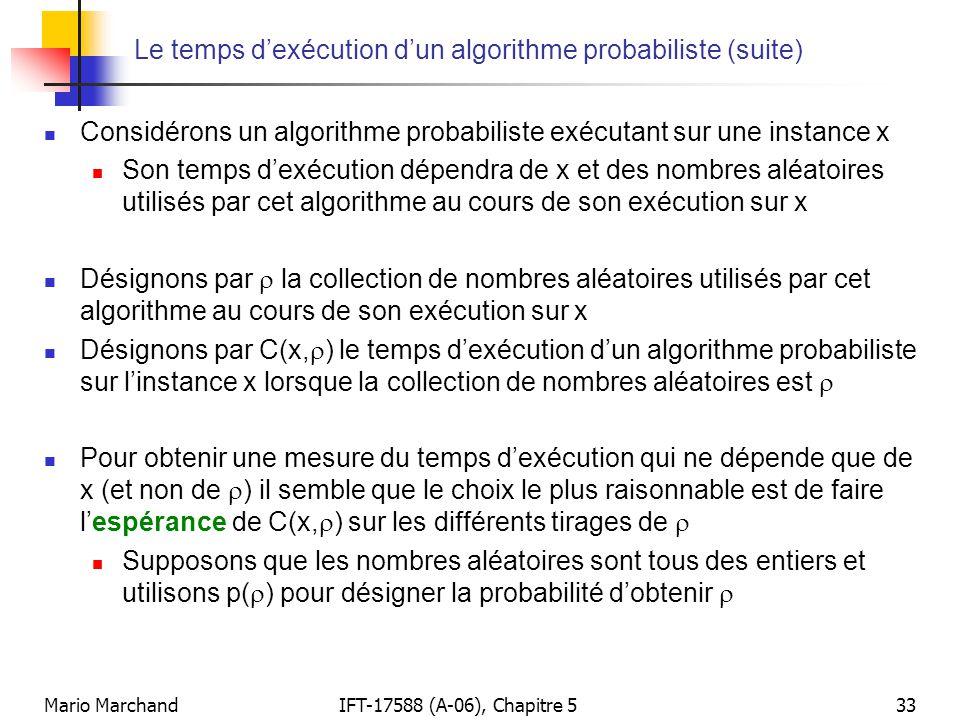 Le temps d'exécution d'un algorithme probabiliste (suite)