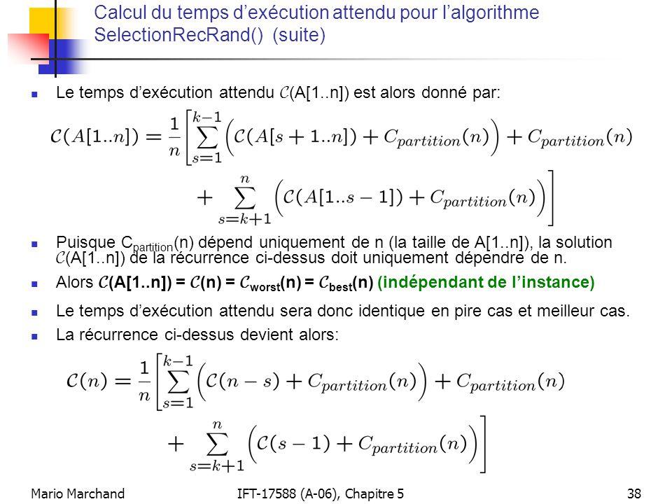 Calcul du temps d'exécution attendu pour l'algorithme SelectionRecRand() (suite)