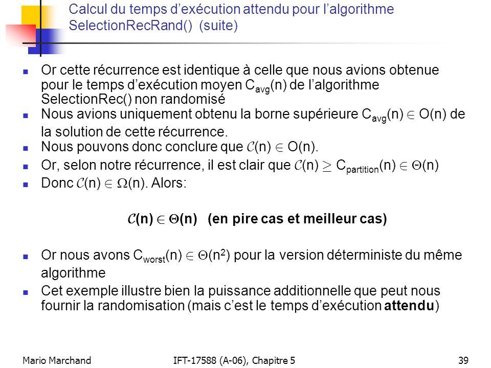 Nous pouvons donc conclure que C(n) 2 O(n).